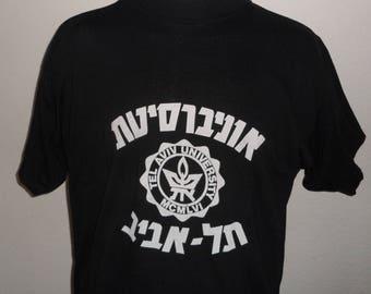 Vintage Original 1980s TEL AVIV UNIVERSITY Israel Soft Black Cotton T Shirt L