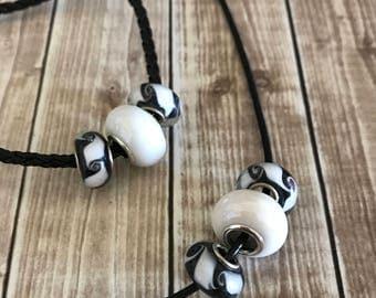 Necklace Bracelet Set, Jewelry Set, Black White Jewelry, Black Necklace, Black Bracelet, Black White Necklace, Black White Bracelet