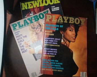 Bundle Playboy October 1990 + June 1990 + French New Look  vintage magazine