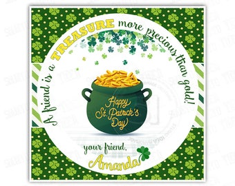 """St Patrick's Day Printable Tags-Happy St Patrick's Day-D.I.Y Tags- Personalized Stickers (You Print) 2.5"""" tags"""