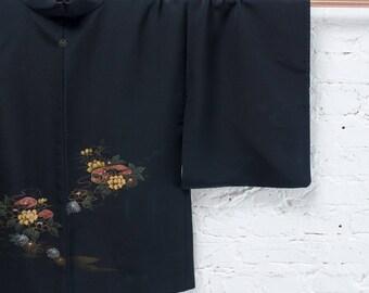 Marly hand painted black silk jacket l Vintage Japanese haori