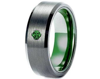 tungsten wedding bands men engagement ring black green mens tungsten ring gun metal ring emerald ring - Tungsten Wedding Rings For Men