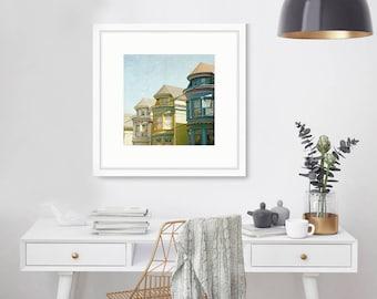 San Francisco Houses, California Photography, Victorian Architecture, Fine Art Print, Home Decor, yellow, blue, green, Wall Art