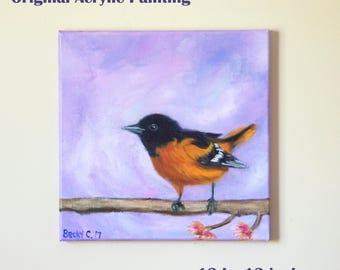 Oriole Bird Wall Art-bird painting-acrylics on canvas-purple orange-wildlife art-modern artwork-spring home décor