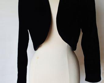vintage black velvet bolero jacket; 60s 70s fancy evening bolero jacket; velvet shrug