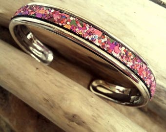 Snap ring bracelet silver plated rhodium and spangled glitter bordeaux leather metallized Boho jewelry By Dodie