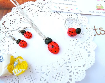 Jewelry, ladybug, Ladybird earrings Ladybug jewelry, kids gift idea necklace, gift idea for her, ladybug gift