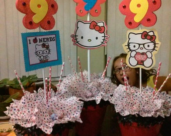 Hello Kitty Birthday party centerpieces