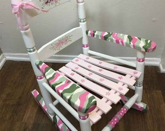 Pink Camo Girls Rocking Chair, Hand Painted Childu0027s Rocker, Hand Painted  Kids Furniture,
