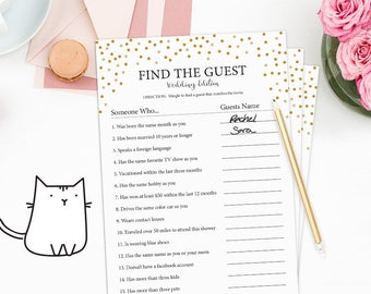 FIND THE GUEST - Fun Bridal Shower Game with Gold Dots Theme | Confetti | Classic | Modern | Chic | Simple [Instant Digital Download]