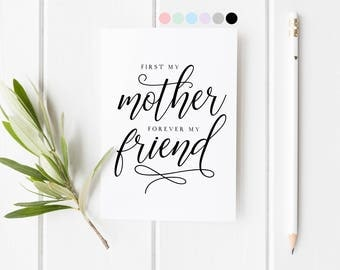 First My Mother Forever My Friend, To My Mum On My Wedding Day, Mother's Day Card, Mum Wedding Day Card, Mum Wedding Day Card, Mothers Day