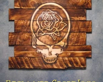 Grateful Dead Steal Head American Rose, FREE UV protector, 30X23, Burnt wall hanging, Shou Sugi Ban, Charred wood, Wood sign