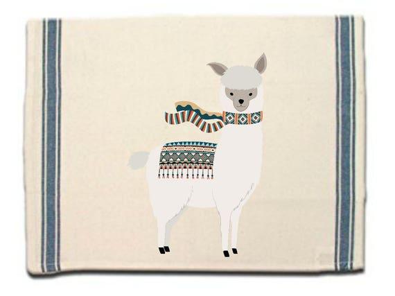 Alpaca in scarf Kitchen Towel, Dish Towel, Tea Towel, Flour Sack Material,Alpaca Dish Towels,Flour Sack Kitchen Towel, Whimsical Dish Cloth