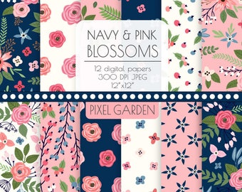 Navy & Pink Floral Digital Paper Background. Shabby Cottage Chic Patterns. Rose, Peony Blossoms in Pink, Navy, Ivory. Hand Drawn Flowers