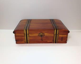 Old Wood Box, Vintage Cedar Box, Jewelry Box for Man, Cedar Box, Vintage Pilliod Wood Box, Treasure Box, Treasure Chest, Rustic Wood Box