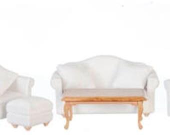 1:12 Scale Miniature 7pc. Classic Walnut Living Room Set
