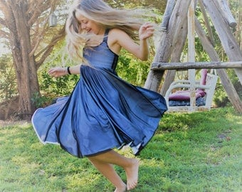 Black dress for girls - summer twirly black dress - teenager girl dress - young lady dress - chiffon ballerina dress