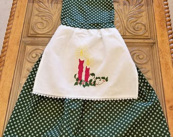 Christmas Vintage Linen Apron, Full Apron, Embroidered Linen, RePurposed Apron, Christmas Candle Embroidery, Ready to Ship, MarjorieMae