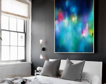 Large WALL ART, 'Samui II'  Minimalist Abstract Painting, Extra Large, Aqua Blue Abstract, Abstract Aqua, Abstract Print, Pink Painting