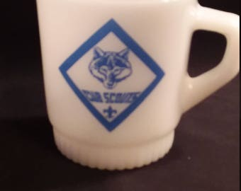 Rare Fire King Boy Scouts Stackable Mug