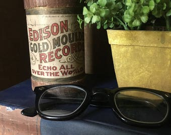 Vintage Edison Gold Moulded Records, Echo All Over The World, Empty Record Wax Cylinder Container