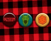 Dungeons & Dragons Pinback Button Set - Dungeon Master, Green Devil Face, d20
