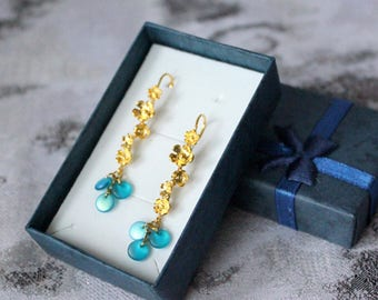 gift/for/her gold blue earrings cluster jewelry boho gift wife elegant earrings girlfriend gift romantic jewelry gift teal earrings пя88