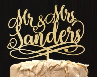 Personalized MR&MRS Wedding Cake Topper,  Wedding Cake Decor, Anniversary - Bridal Shower - Wedding Gift Cake Topper, Rustic Chick Wedding