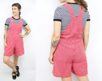Vintage 90's Red and White Gingham Overall Romper / 1990's Romper / Rayon / Shorteralls / Women's Size XS/Small