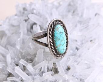 Vintage Turquoise Ring, Size 7 Ring, Vintage Boho Jewelry, Southwestern Jewelry, Boho Turquoise, Sterling Silver Turquoise