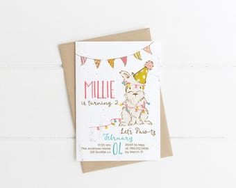 Dog Birthday Party Invitation Printable, Puppy Let's Paw-ty 1st Birthday Invite, Come Sit Stay, Girl Doggy Bday Invitations, 2nd, 3rd, 4th