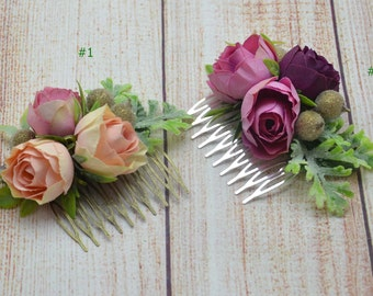 Bridal hair comb Wedding hair accessories Peach flower comb Bridesmaid hair comb Flower girl comb Purple hair comb Wedding flower comb
