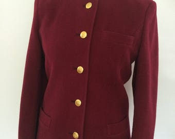 Vintage 80s Daks pure new wool Made in Great Britain deep red wool collarless  jacket size small