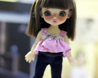 Top and Jean Pants With Head Band For Lati Yellow / Pukifee Outfit #L033