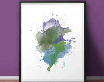 "Instant Digital Downlaod, ""Beauty is A Cactus in the Moonlight"" Watercolor Splash, Art Print, Printable Wall Art, Printable"