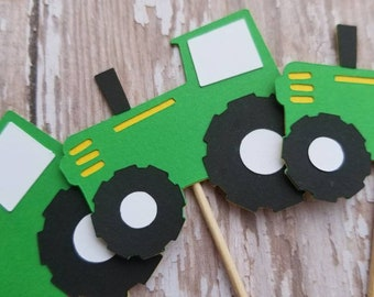 Tractor Cupcake Toppers... Baby Shower... Birthday Party... First Birthday... Baby Boy...