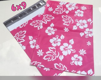 "30/35/40/45  Pink Aloha Flowered 6""x9"" poly mailers self sealing Poly Mailers Postal Approved Mailers! Easy Gift Wrapping"
