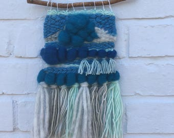 Woven wall hanging mini blue tapestry