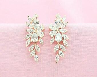 Rose Gold Earrings Bridal Crystal Earrings Wedding Jewelry Cubic Zirconia Stud Earrings Multi-Stone Cluster Earrings Bridesmaids Gift (E194)