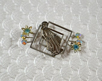 Vintage Virgin Mary Pin Stylized Mid Century Rhinestone Unique Design Vintage Religious Pin