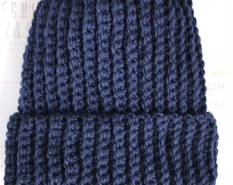 Navy Blue Wooly Mammoth Beanie 100% Wool Winter Hat/Navy Blue/GiftforGirl/GiftforGuy/Giftsunder15/Holiday/Gift Idea