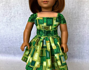 Geen doll dress - 18 inch  doll dress - green doll clothes - fits the American Girl, Our Generation and other 18 inch dolls.