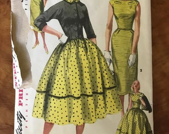 Simplicity 1412 - 1950s One Piece Dress with Flared or Slim Skirt and Jacket - Size 16 Bust 34