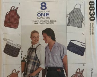 McCalls 8830 - Fashion Accessories Full or Half Apron Collection with Pocket Option - Size Small Medium Large