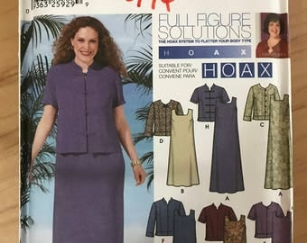 Simplicity 5975 - Full Figure Solutions Hoax Jack and Sleeveless Dress in Midi Length - Size 26 28 30 32