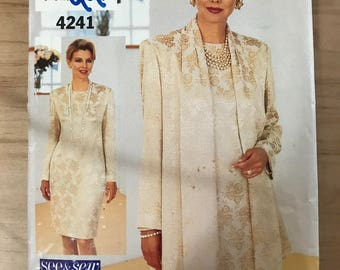 See & Sew 4241 - Easy to Sew Sheath Dress with Shawl Collar Jacket Twin Set - Size 8 10 12 or 14 16 18