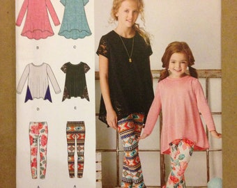 Simplicity 8105 Girls Knit Tunics with Hi Lo or Handkerchief Hem and Stretch Knit Leggings - Size 7 8 10 12 14