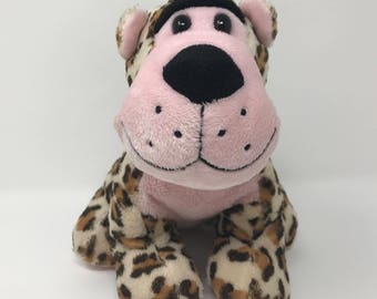 "Walmart Spotted Leopard Cheetah Plush Stuffed Animal Toy 8""H Pink & Brown  081022"