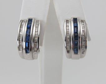 14 White Gold Diamond And Sapphire Earrings 1.00 carat - Gemstones Omega Back Earrings