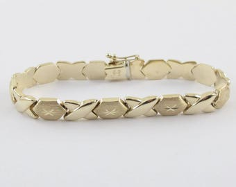 "14K Yellow Gold X O Hugs And Kisses Bracelet 7"" 10.5 grams"